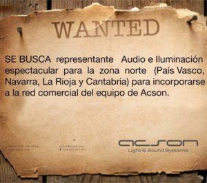 SE BUSCA representante de audio e iluminación.