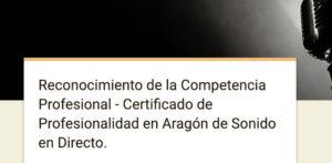 Certificado de Profesionalidad en Aragón de Sonido en Directo.